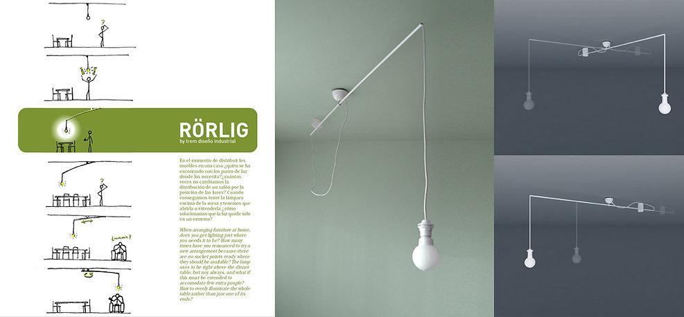 Rörlig es un aplique para techo con brazo móvil para instalación de lámparas de suspensión.