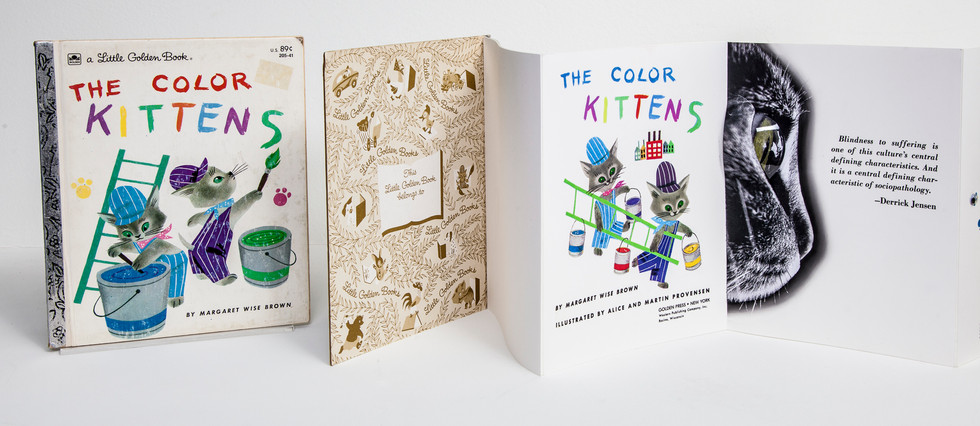 Unaltered book on left in codex format. Altered book on right in leporello format. Both unpaginated. Story of original book concerns two kittens' attempts to mix colors specifically to make green. Black/white photo of cat's head with added 3-D lens element and Jenson quote (far right) establishes new themes of cruelty and sight.