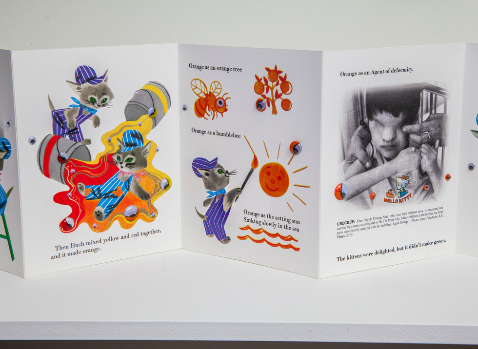 Three-page spread. First and second pages mostly unaltered except for addition of orange google eyes. Third page contains article concerning agent orange. Rhyme changed accordingly.