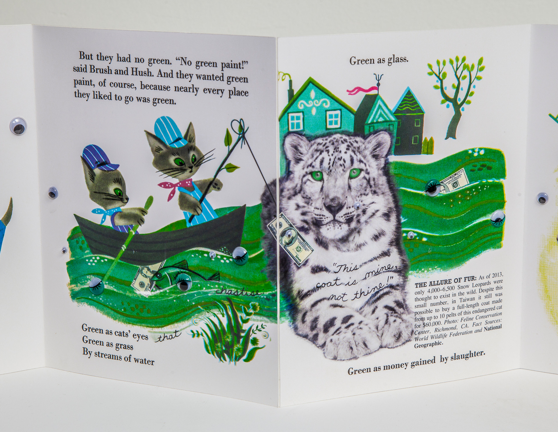 Two-page spread. Colors of google eyes transition from black/white to green to coordinate with illustration. Original rhyme modified to include subject of snow leopard slaughter.