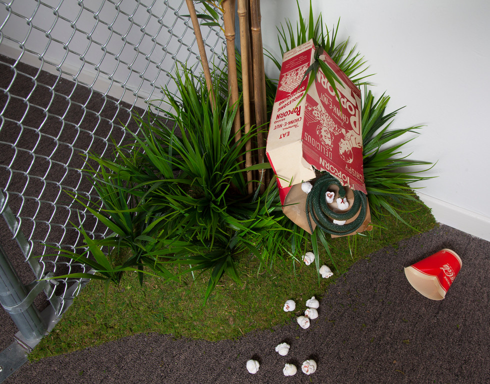 Vintage popcorn box in which a rubber snake has taken refuge lies discarded in the shrubbery with remnants of faux popcorn spills forth. Empty Coke cup lies nearby. Viewer to Animal Friends tableau thus becomes indirectly implicated in misdeeds against animals documented in altered books.