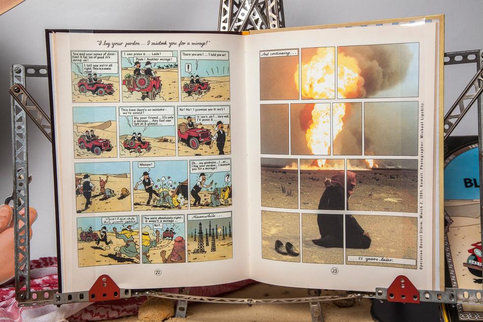 "Close-up of digitally printed book addition including photo by Michael Lipchitz, ""Operation Desert Storm,"" 1991, on right."