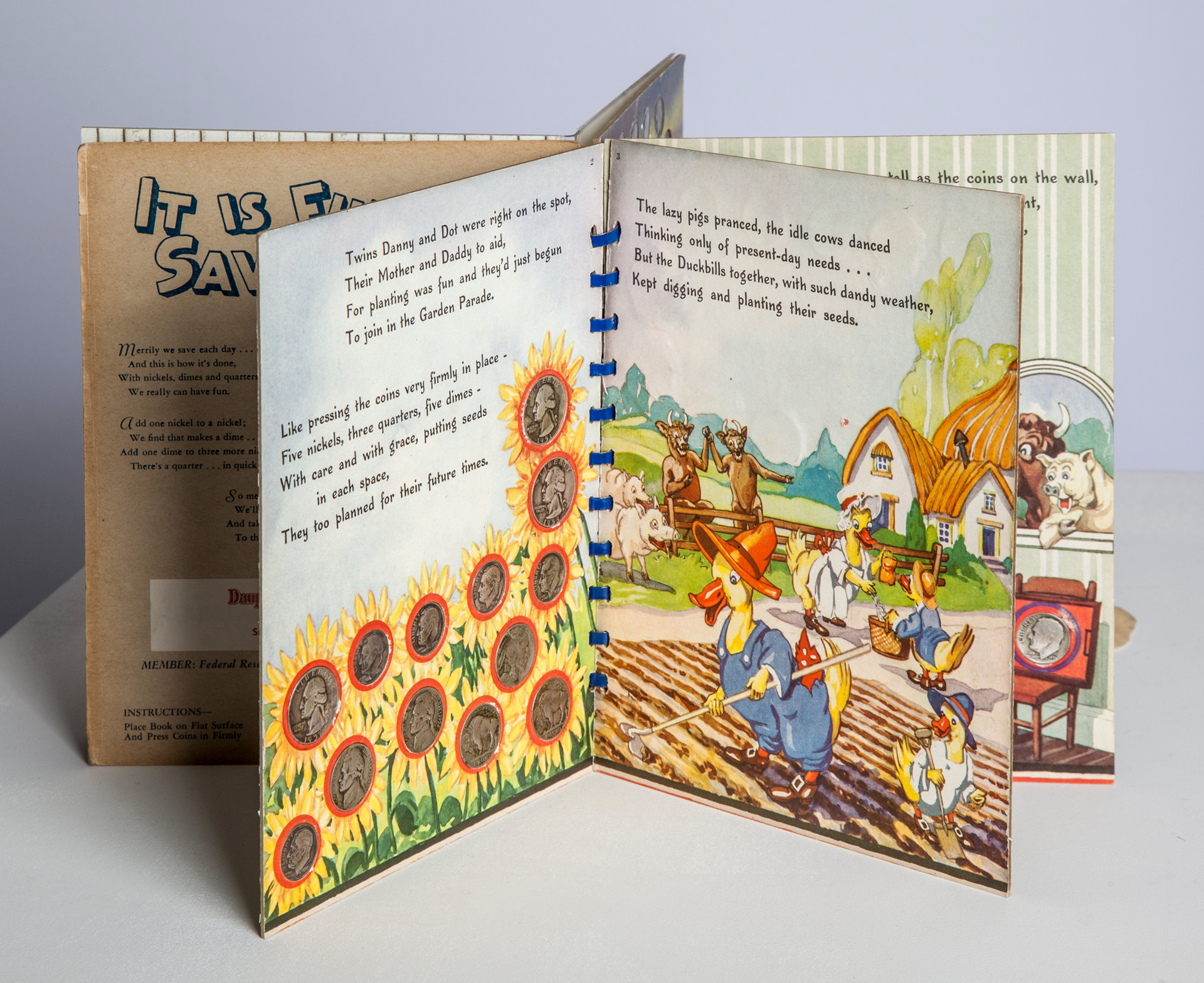 """Pages 2 and 3. Establishes the three elements of the book: didactic poetry, spaces for coin placement, and story illustration. Also introduces the Duckbill Family's negative counterparts who exemplify bad savers, the """"lazy"""" pigs and """"idle"""" cows."""