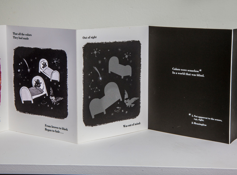 """Three-page spread. Illustrations change from multi-colored to brown and black. Theme of sleep transitions to theme of blindness (""""Colors were senseless/In a world that was blind,"""") this connects with Jenson quote at beginning of book."""