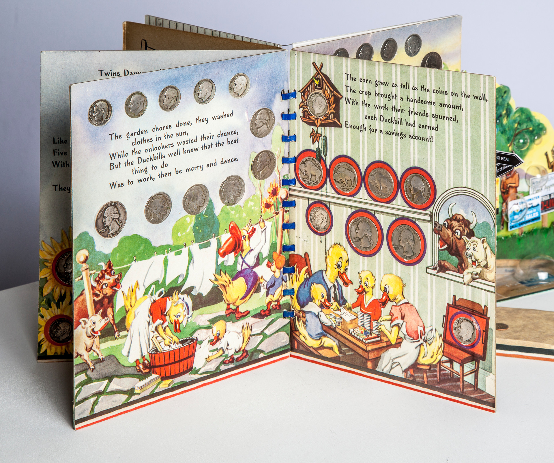 Page 4 and 5. Story continues, emphasizing the Duckbills' work ethic and earning capacity versus the pigs and cows. Vintage nickels, dimes and quarters in book, while dark with oxidation at the beginning, become increasingly shiny indicating the passage of time.