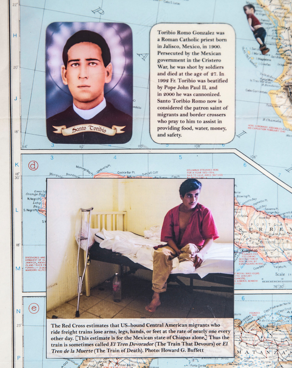 Photographs adhered to the map are images taken from Sonia Nazarin's book; text is a distillation of information from her Pulitzer Prize winning reporting. In upper righthand corner, the 2015 image of drowned Syrian child, Alan Kurdi, illustrates that refugee crisis is worldwide.