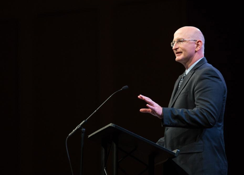 "Steve Zeller, author of ""Raising Boys The Zeller Way,"" speaks at Grace College in Winona Lake, Indiana."