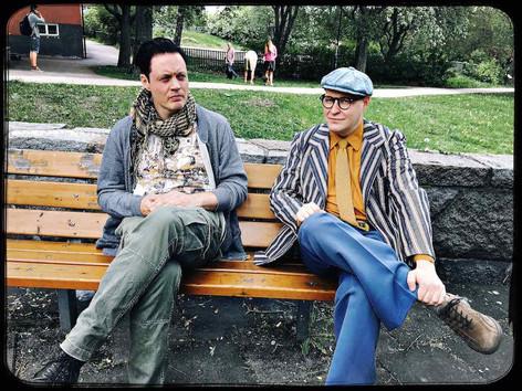 """Michael Lindgren as Hanif Bali and Henrik Dorsin as Povel Ramel filming for Flyktingkrisen """"Hela Sverige skramlar"""""""