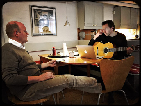 """Henrik Dorsin, Andreas Grube and Andreas Grill composing for Grotesco """"Stefans huvudbry"""" opera in the studio"""