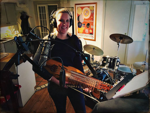 Anne-Chatrine Svärling playing the nyckelharpa in the studio