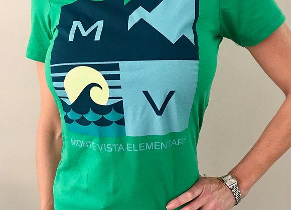 Women's Mountain / Ocean Fitted Tee in Green