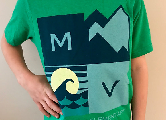 Youth Unisex Mountain / Ocean Tee in Green