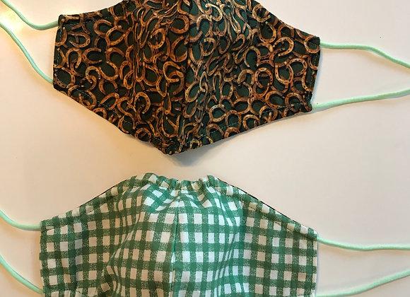 Reversible Mask- Horseshoe/ Green Checkered