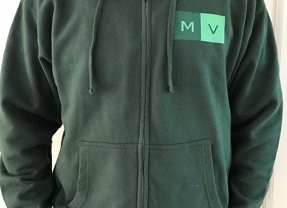 Adult Unisex Fleece Zip Up Hoodie in Alpine Green
