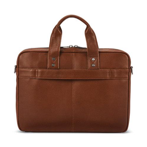 Classic Leather Slim Brief -Cognac