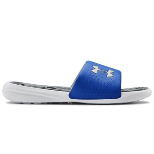 UA Playmaker Fixed Strap Slides_White/Versa Blue