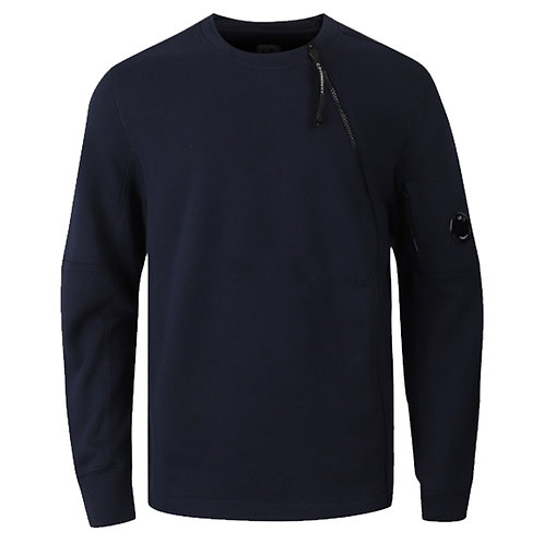 Diagonal Raised Fleece Asymmetric Zip Sweatshirt - Total Eclips