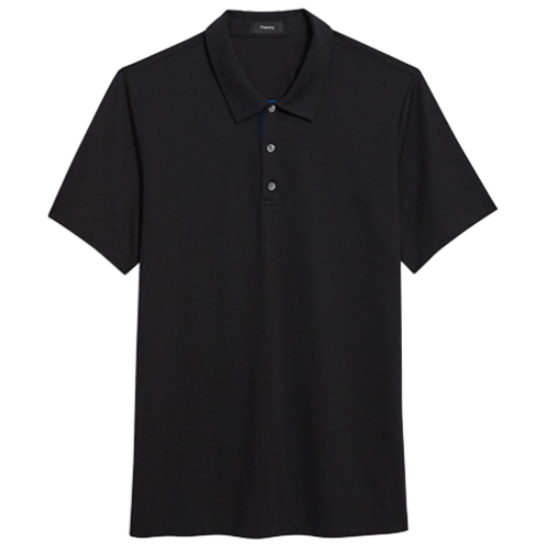 Polo Shirt In Silk-Cotton_BLACK
