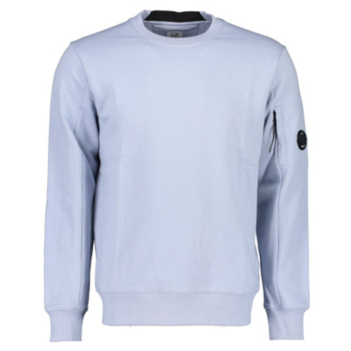 Diagonal Raised Fleece Lens Crew Sweat 838 BLUE FOG