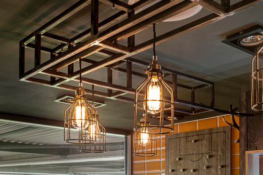 Industrial lights rig over the bar