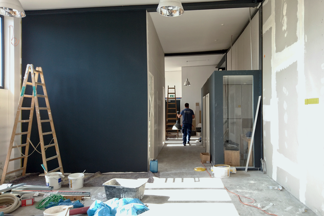 Drywalls raw and painted black