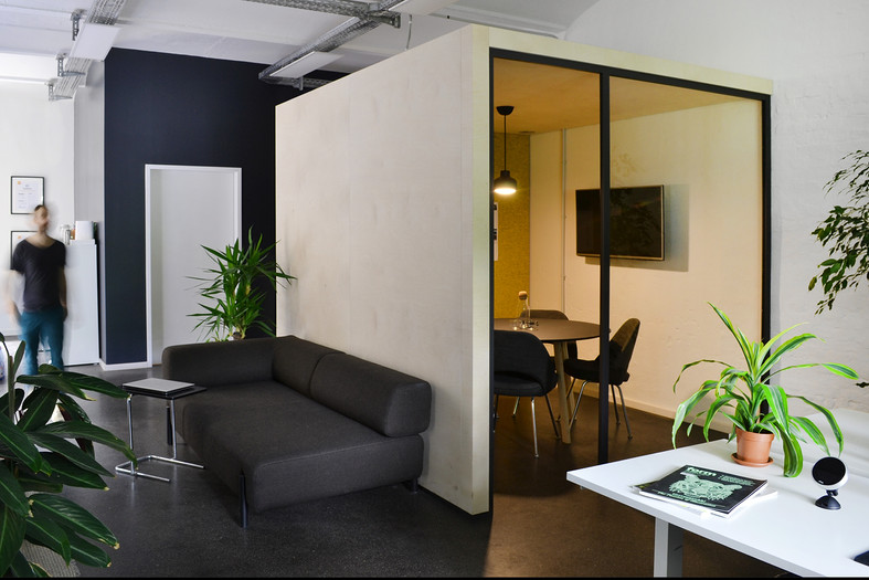 Cosy office interior design open space with glass meeting room