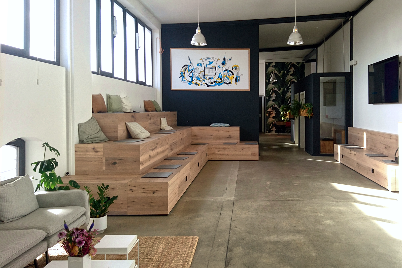 Social area with seating platform in office in office