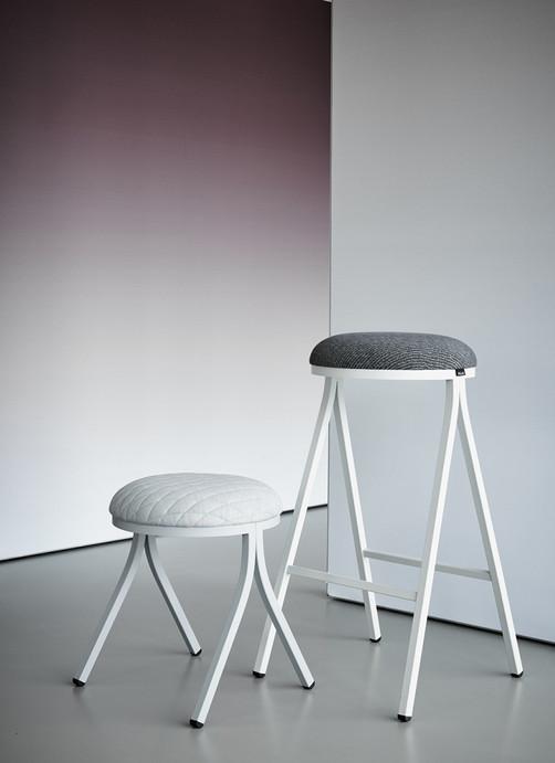 Palau Dotti bar stool & low stool white upholstered