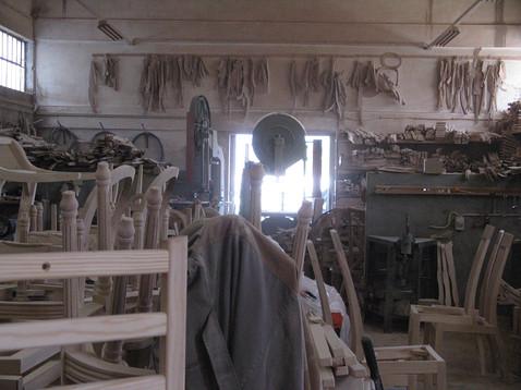 Wood workshop of chair manufacturer