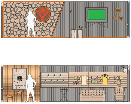 Wall elevations of exhibition design, bar and press wall