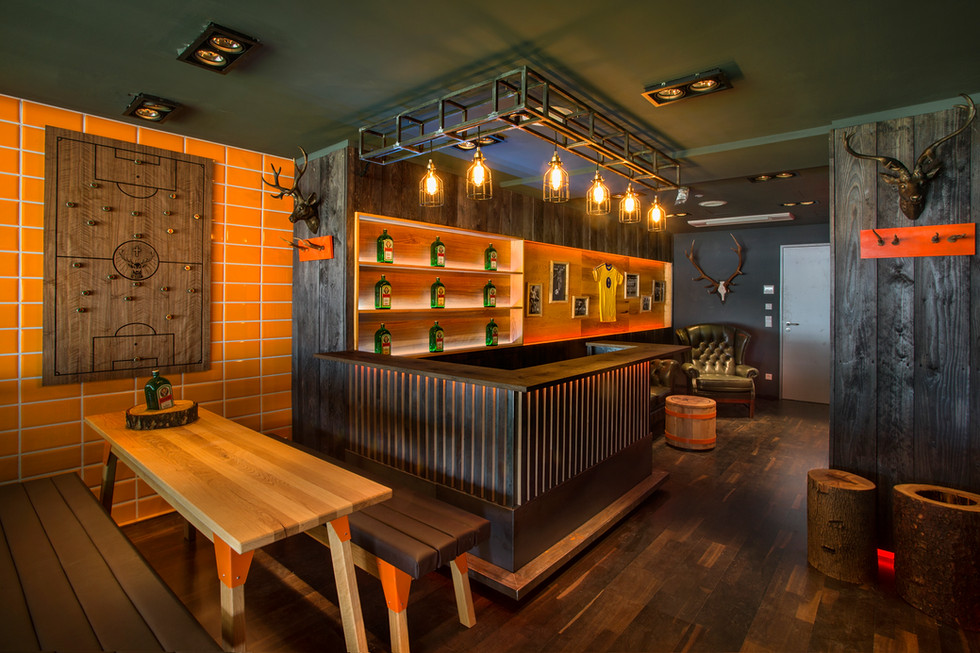 Jägermeister backlit bar at VIP-Lounge hut