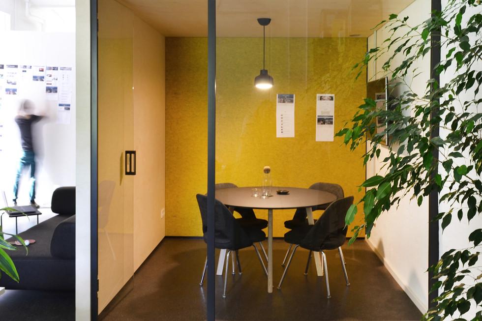 Bespoke soundproof yellow meeting room