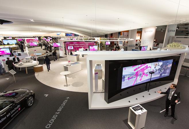 CeBit Deutsche Telekom Trade fair stand view