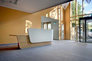 Entrance & reception counter salmon wall foyer lobby
