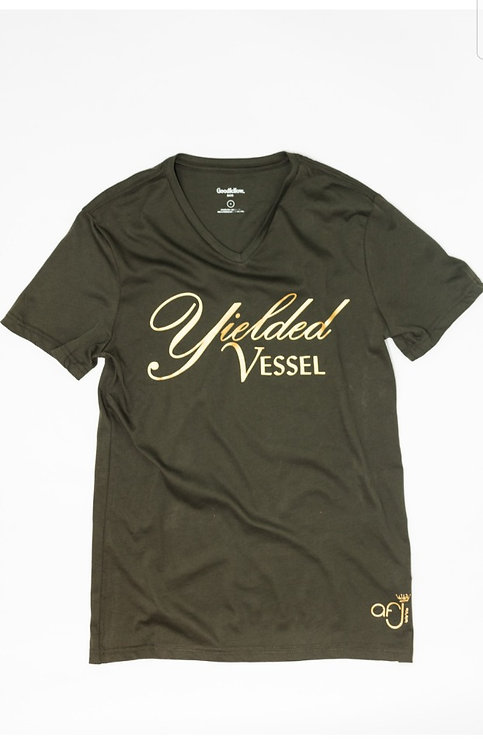 Olive Green and Gold Yielded Vessel Tee