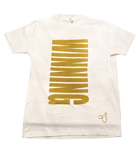 White and Shimmer Gold Winning T-Shirt