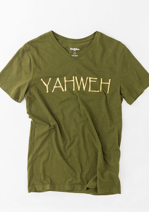 Olive Green and Gold Yahweh Tee