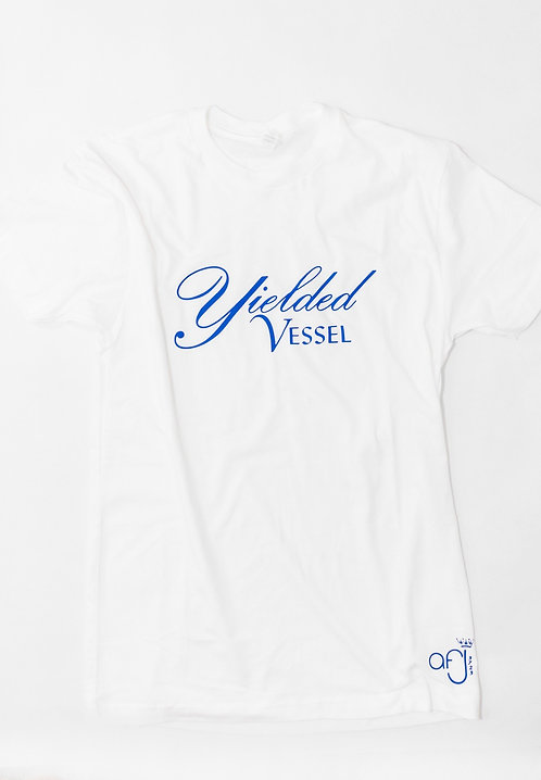 White and Royal Blue Yielded Vessel Tee