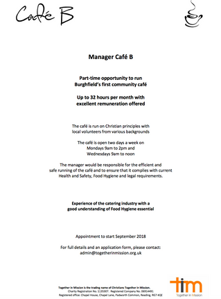 Cafe B are looking for a new Manager, could it be you?