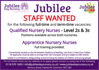 Jubilee Day Nursery - Staff Wanted