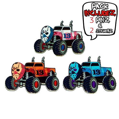 Hockey Mask Truck - (3 Pin) Hard Enamel Pin Pack