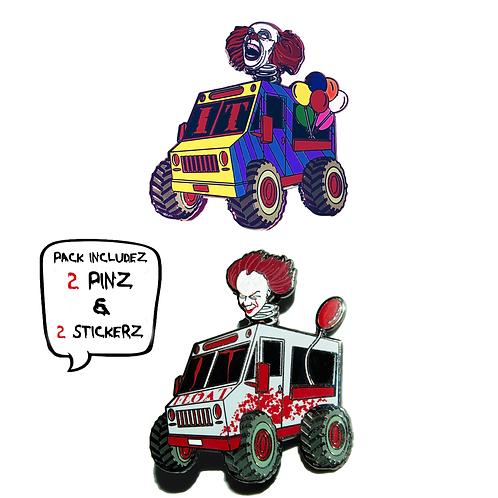 Clown Truck -  (2 Pin) Hard Enamel Pin Pack