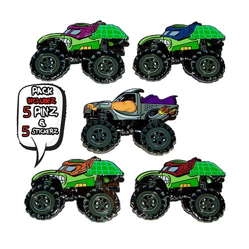 Mutant Truckz - (5 Pin) Hard Enamel Pin Pack