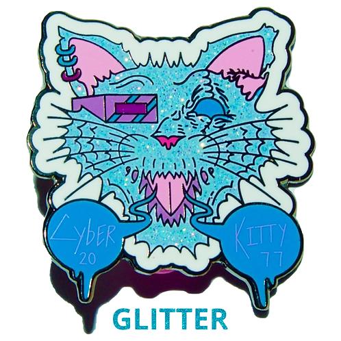 Cyber Kitty - Hard Enamel Pin With Glitter