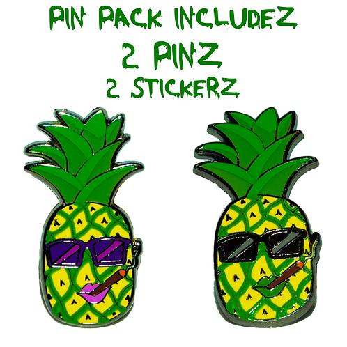 Party Pineapplez - (2 Pin) Hard Enamel Pin Pack