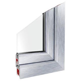 Serramento Pvc con pellicolato AP 63 Alluminio grezzo.