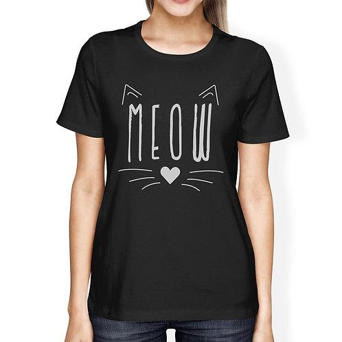 Meow Womens Black Shirt
