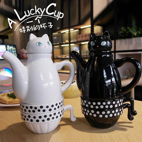 Ceramic Teapot Teacup Cat Set