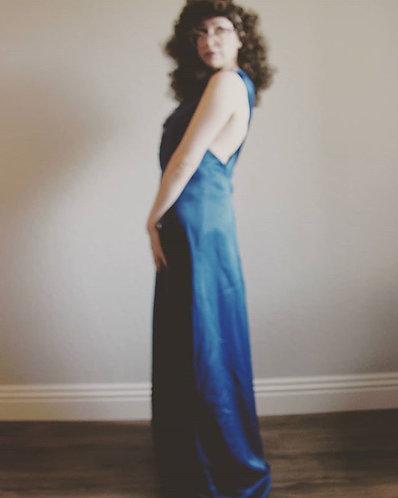 Blue Satin Evening Gown