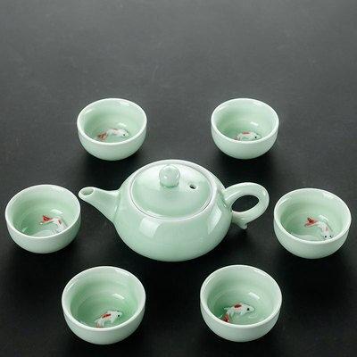 Celadon Fish Tea Set